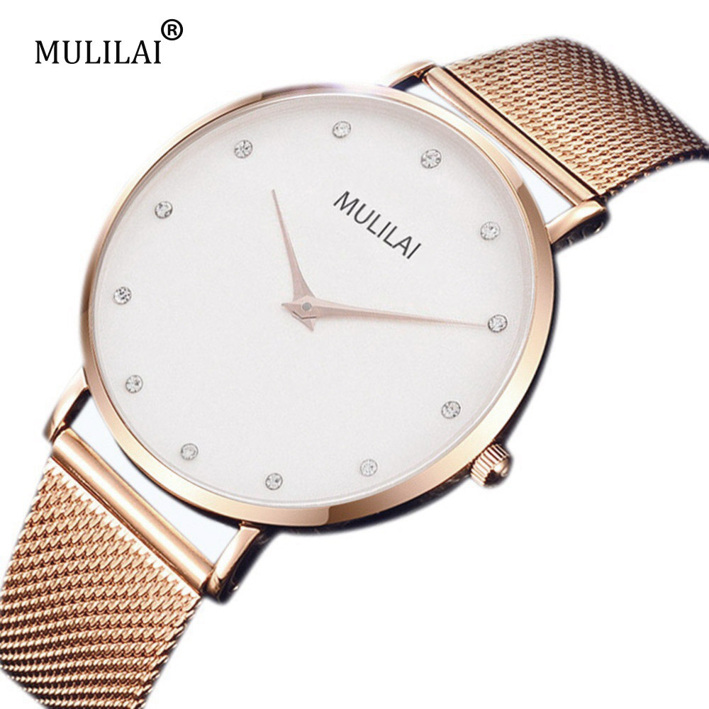 MULILAI Mens Top Brand Luxury Fashion Watch Men Ultra Thin Gold Steel Mesh Watches Women Dress Quartz Lovers Watch orologio uomo yoner men watches 2016 luxury brand hot mens watches for sale online mens dress watch mont black watch leather orologio uomo