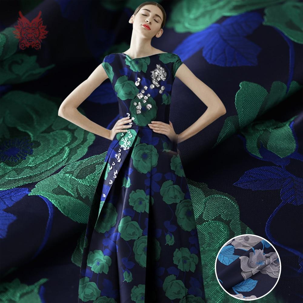 France style elegant 3D green grey floral jacquard brocade fabric for dress coat jacquard tissu tecido