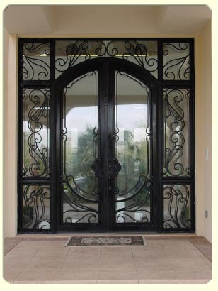 Wrought Iron Doors Design With Sidelight For ROT 006 Sliding Glass Doors  For Sale