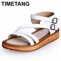 TIMETANG Kadın Sandalet Hakiki Deri Kama Topuklar Sandalet Kadın Ayakkabı Kızlar Platformu Toka Burnu açık Topuklu Sandalet Kadın C260