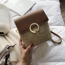 2019 Summer Small Straw Bucket bag For Women PU Leather Crossbody Bags With Metal Handle Female Purses and Handbags Beach Bags недорого