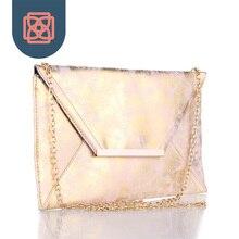 Rose Gold Foil Envelope Purse Distressed Faux Leather PU Matte Pink Purse 18K Gold Color Chain Club Clutch Handbag Night Out Bag