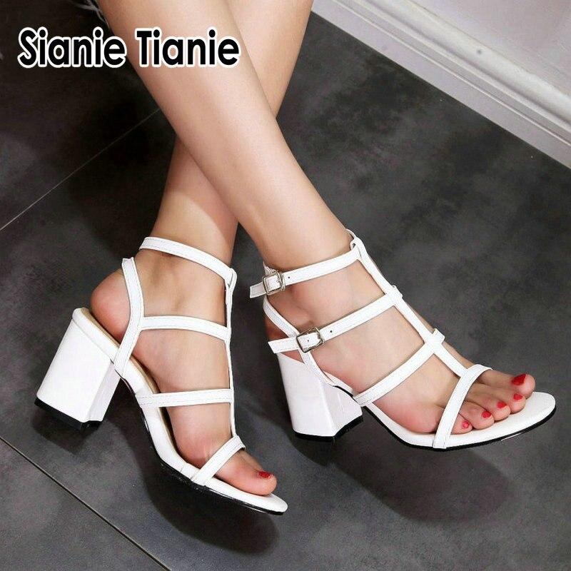 Sianie Tianie 2019 Summer White Blue Open Toe Block High