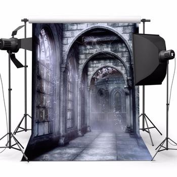 New 1pc Retro Terror Castle Photography Backdrop Computer-printed Vinyl Halloween Background Studio Photo Props 5x7ft