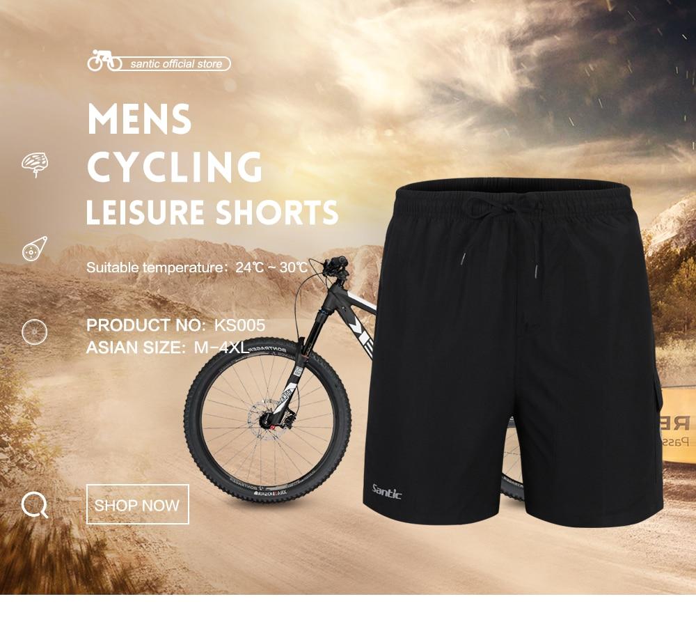 Santic Men summer Cycling Shorts ciclismo Short negro Black Foam Padded Bike MTB Jersey Shorts Loose Bike Shorts Size WC05003