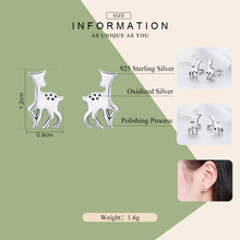 Silver Animal Collection Deer Small Stud Earrings for Women
