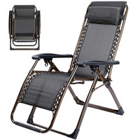 Extra thick square tube chaise longue folding chair lunch break chair folding deck siesta leisure chair