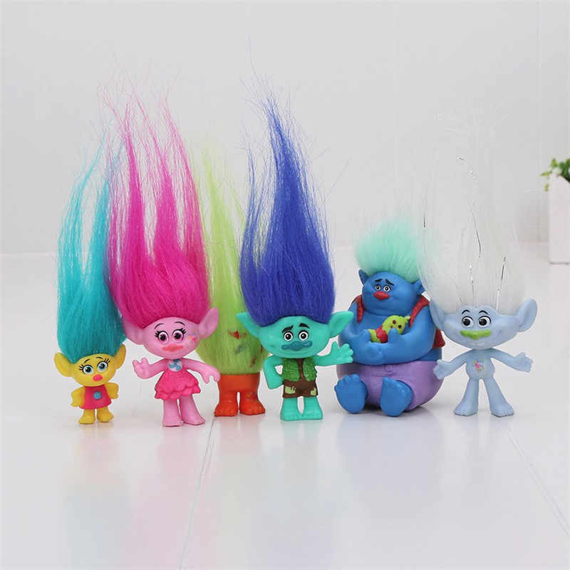 6 pz/set 2-6cm Troll Figure Movie Figura Bambole di Papavero Ramo Biggie PVC Trolls Action Figures Giocattoli