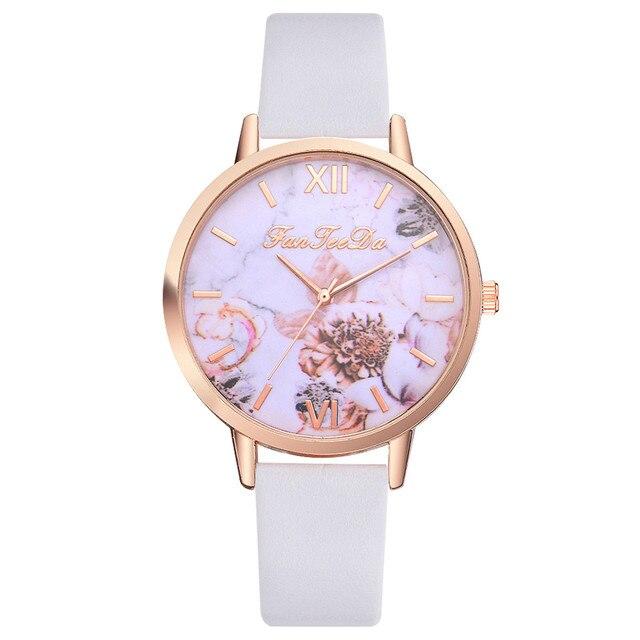 FanTeeDa Women Bracelet Watch Contracted Rose Gold Leather WristWatches Women Dress Ladies Quartz Clock Dropshiping 533