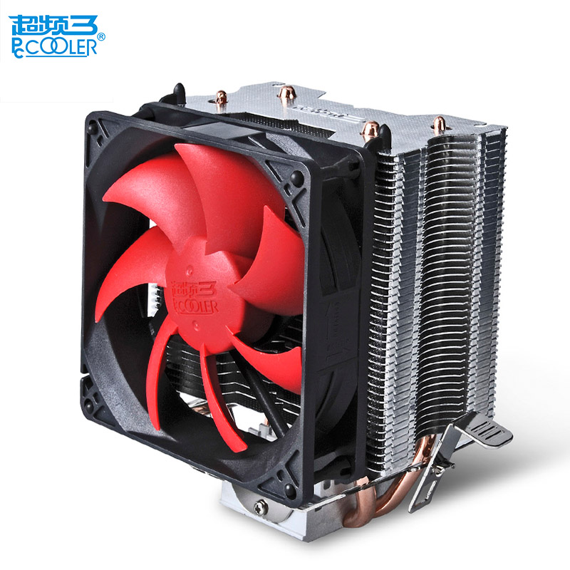 Pccooler CPU cooler 2 pure copper heatpipes 9cm quiet fan computer PC cpu cooling radiator fan for AMD FM Intel 775 1155 1156 new pc cpu cooler cooling fan heatsink for intel lga775 1155 amd am2 am3 a97