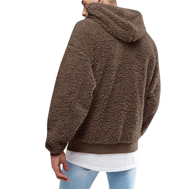 Fashion Faux Fur Fleece Fluffy Hoodie Men Casual Solid Color Plush Hooded Sweatshirts Winter Spring Long Sleeve Hoodies Coats