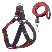 TTLIFE High Quality Jean Denim Leash Harness Dog Collar Chain Cat Rope Belt Adjustable Collar Dogs Harness And Leash Set for Pet масленка lefard веселые друзья фарфор