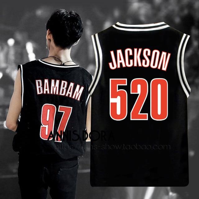 US $12 0 |GOT7 EYES ON YOU BAMBAM MARK YUGYEOM JACKSON Same Style Name  Birthday Number Black Baseball Vest-in Tank Tops from Men's Clothing on