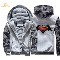 Super Hero Batman Hoodies Men 2019 Winter Thick Camouflage Hooded Zipper Warm Jackets Hip Hop Streetwear Men's Tracksuit S XXL