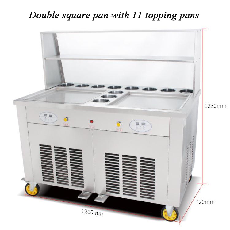 Double square pan with 11 topping cooling pans Double pressure ice frying machine Double Pan Fried Ice Cream MachineDouble square pan with 11 topping cooling pans Double pressure ice frying machine Double Pan Fried Ice Cream Machine