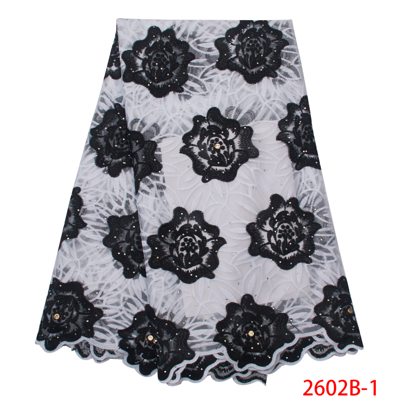 Hot Sale Swiss Voile Lace Nigerian Laces Fabrics 2019 High Quality African Embroidered Cotton With Stones For Women KS2602B-1