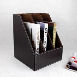 3-slot drewniane skórzane biurko A4 dokumentu plik książki pudełko półka pojemnik na dokumenty organizer brązowy 219B