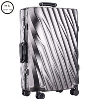 20/24/28 inch Aluminum Frame Rolling Luggage Bag Full Metal Travel Suitcase Luxury Brand Business Brushed Metal PC Trolley Bags