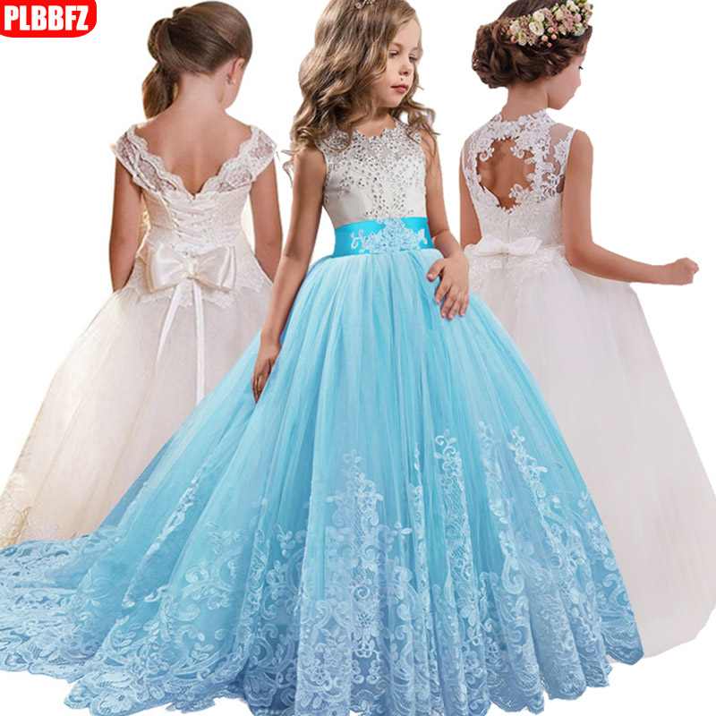 2019   Flower     Girl   Long Tail Wedding   Dress   kids Lace   Dress     Flower     Girl   Party   Dress   Ball Gown vestidos primera comunion blancos