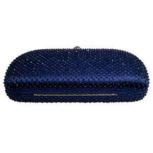 Image 4 - Elegante น้ำเงินคริสตัลกล่องกระเป๋าคลัทช์และกระเป๋า Rhinestone กระเป๋า
