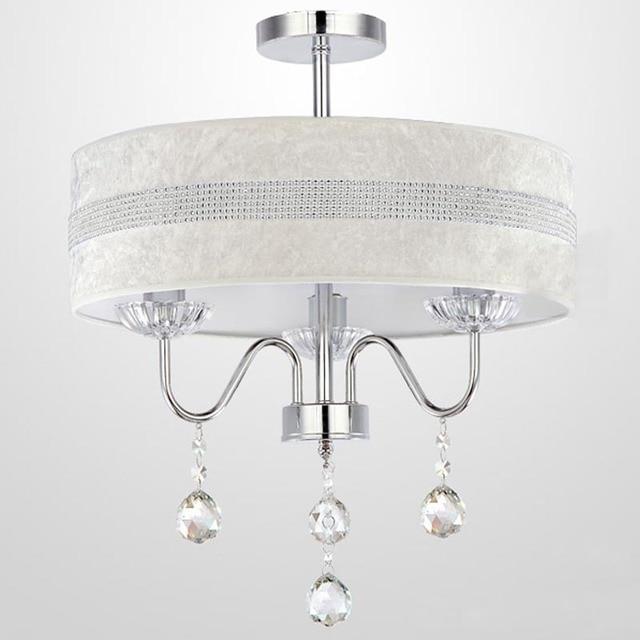 Dia 40cm Modern Crystal Hanging Light 3 Lights Simple Fabric Shade Bedroom Living Room Drum