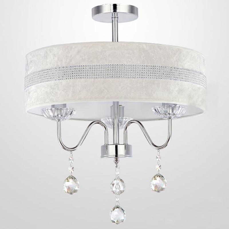 Dia.40cm Modern Crystal Hanging Light 3 Lights Simple Fabric Shade Bedroom Living Room Drum Chandelier Fixture Lighting PL637