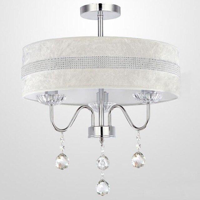 Dia.40cm Moderne Kristall Hängeleuchte 3 Leuchtet Einfache Stoffschirm  Schlafzimmer Wohnzimmer Trommel Kronleuchter Leuchte Beleuchtung