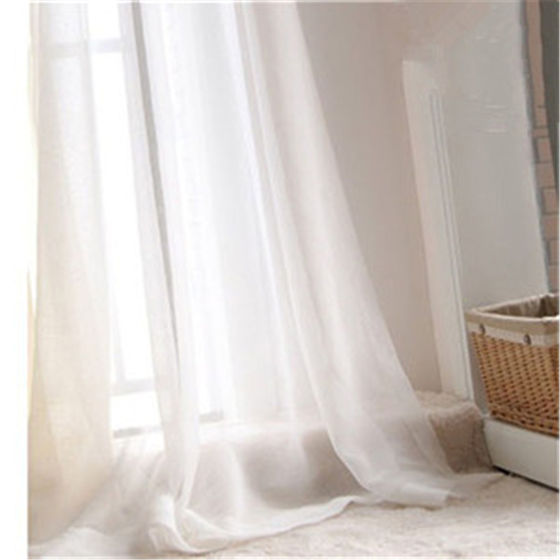 hot sale fashion quality product korean rural screens linen sheer curtains white tulle curtain for