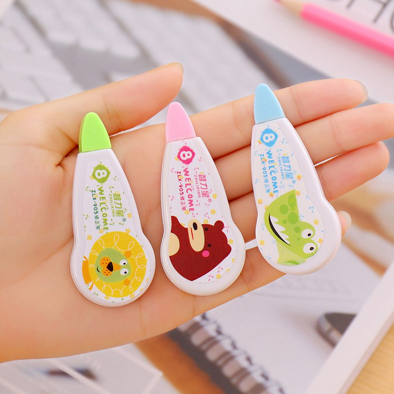 1PC 8m Cute Cartoon Animals Correction Glue Tape Corrector White Out Kids Gift Kawaii School Supplies Korean Stationery