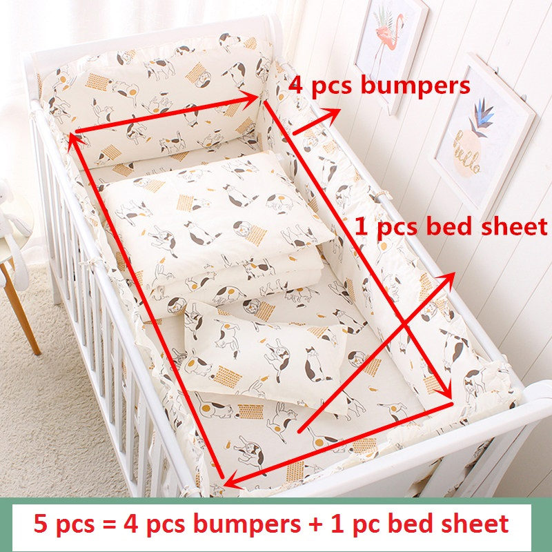 5pcs Cartoon Baby Bedding Set Cotton Crib Bedding Set Baby Bed Linens For Girls Boys Bed Bumpers Sheet Pillowcase Multi Colors in Bedding Sets from Mother Kids