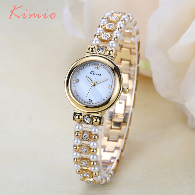 KIMIO Unique Pearl Diamond Strap Luminous Plating 18k Gold Watch Women Bracelet Womans Watch Ladies Womens Watches Top Brand
