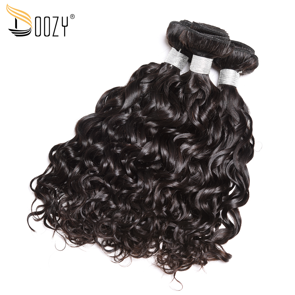 Doozy Water Wave Peruvian Human Hair 3 Bundles Double Weft Natural Color Remy Human Hair Weave Free Shipping