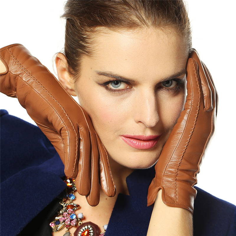 2018 New Women Genuine Leather Gloves Fes