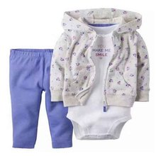 Cotton Hooded Baby Boy Girls Clothes Set