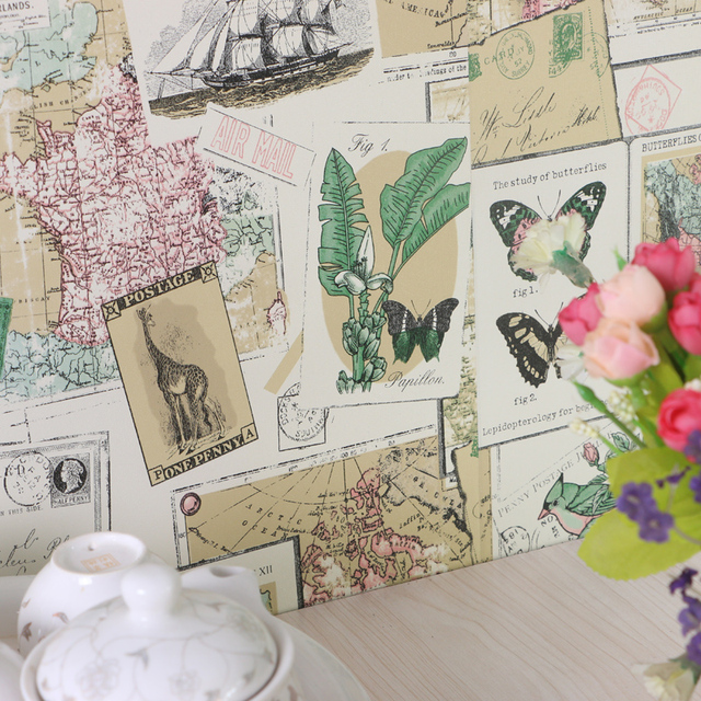 Pvc Waterproof Wallpaper Wardrobe Furniture Stickers Kitchen Cabinet Door Decor Pastoral Map Newspaper 45CMX5M