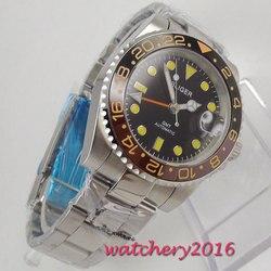 40mm Bliger czarna tarcza szafirowe szkło prezenty dla mężczyzn GMT ceramiczna ramka szkiełka zegarka data Super LUME Top marka mechanizm automatyczny męski zegarek