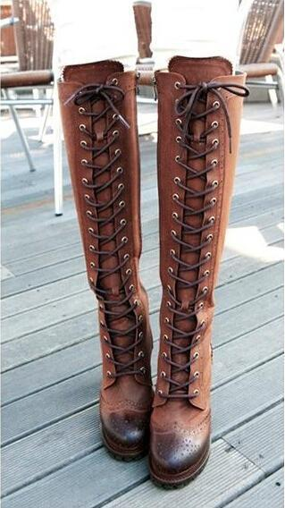 a556cd3eda8 Western Style Knee High Boots Women Lace-up Soft Leather Boots Chunky High  Heels Shoes Woman Black  Brown Botas Femininas 2015