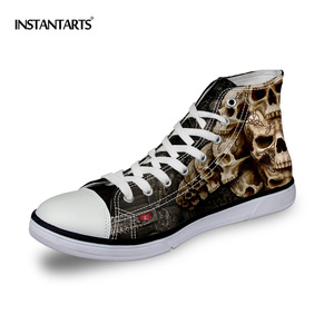 Image 2 - INSTANTARTS Cool Punk Skull Printed Mens High top Canvas Shoes Breathable Casual Lace up Vulcanized Shoes Men High Top Sneakers