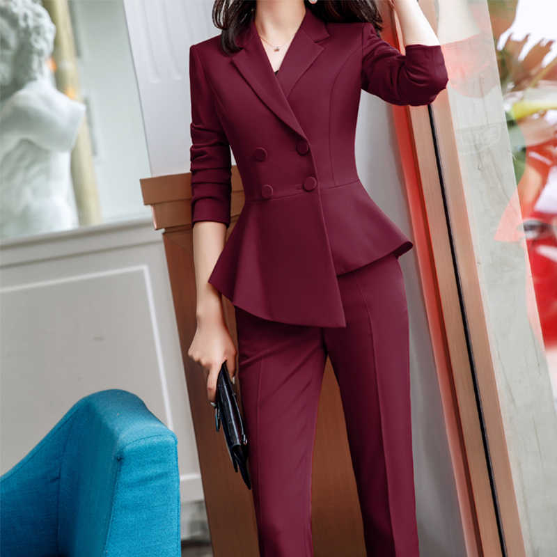 2021 Formal Elegant Women S Business Blazers Trouser Suits Office 2 Pies Sets Ladies Plus Size Formal Jacket Pants Office Lady Pant Suits Aliexpress