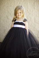 New Girls Black Long Tutu Dress Kids Fluffy Tulle Wedding Evening Dresses With White Satin Bow