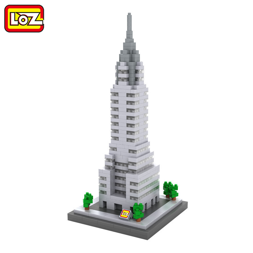 LOZ World Famous Architecture Mini Diamond Blocks Chrysler Building Manhattan New York USA Nanoblock Toys Model for Kids Gifts loz lincoln memorial mini block world famous architecture series building blocks classic toys model gift museum model mr froger