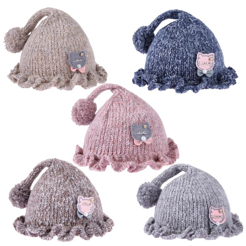 Lovely Spring Baby Knitted Hat Korean Thickened Solid Cap Birthday Gift Cap Photo Props Tools Clothing Accessories