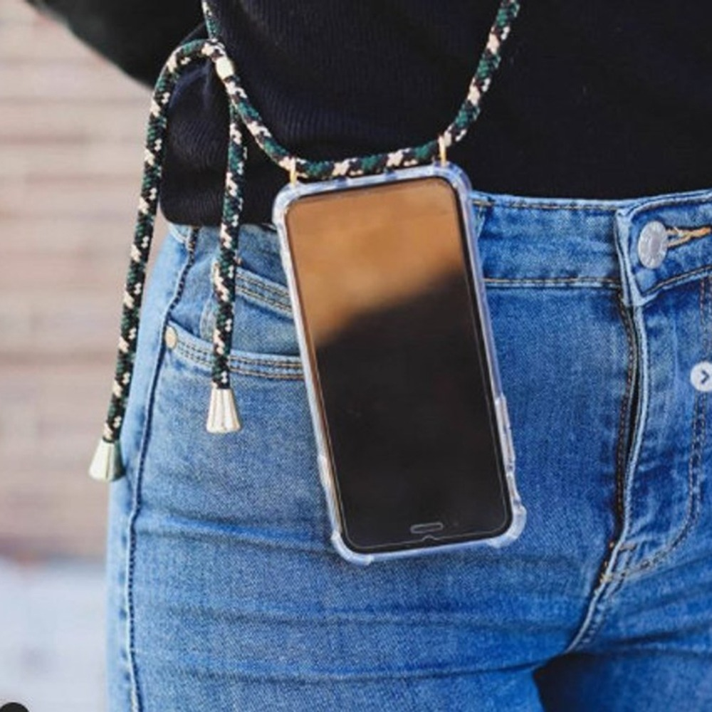 Fashion Cross Shoulder Strap Clear TPU Case For iPhone 11 Pro Max 11 Pro 11 XS Max XR XS X 7 8 6 6S Plus 5S SE Necklace Cover