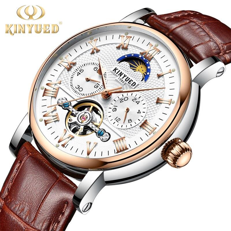 KINYUED Chronograph Automatic Watch Men Moon Phase Mechanical Skeleton Flying Tourbillon Watches montre homme erkek kol saati