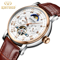 KINYUED Chronograph Flying Tourbillon Automatic Watch Men Moon Phase Mechanical Skeleton Watches montre homme erkek kol saati