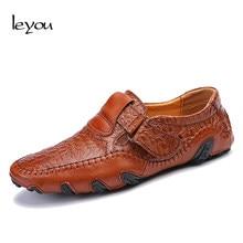 2973d2cf43d8b Leyou hombres zapatos de cuero marca hombres zapatos Casual mocasines de  cuero para hombre complementos cuero