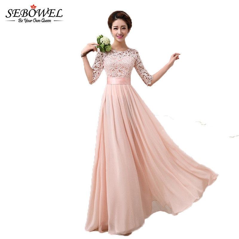 SEBOWEL 2019 Autumn Winter Women Long Chiffon Dress Half Sleeve Maxi Dresses  For Female Formal Wedding 88b602a63fe9