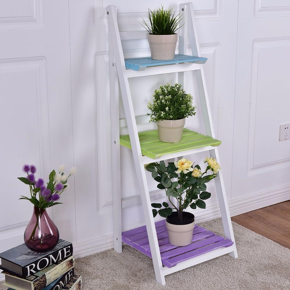 Giantex Folding Wooden 3-Tier Display Shelf Living Room Storage Cabinet Modern Organizer Home Office Flower Pot Shelf HW55505
