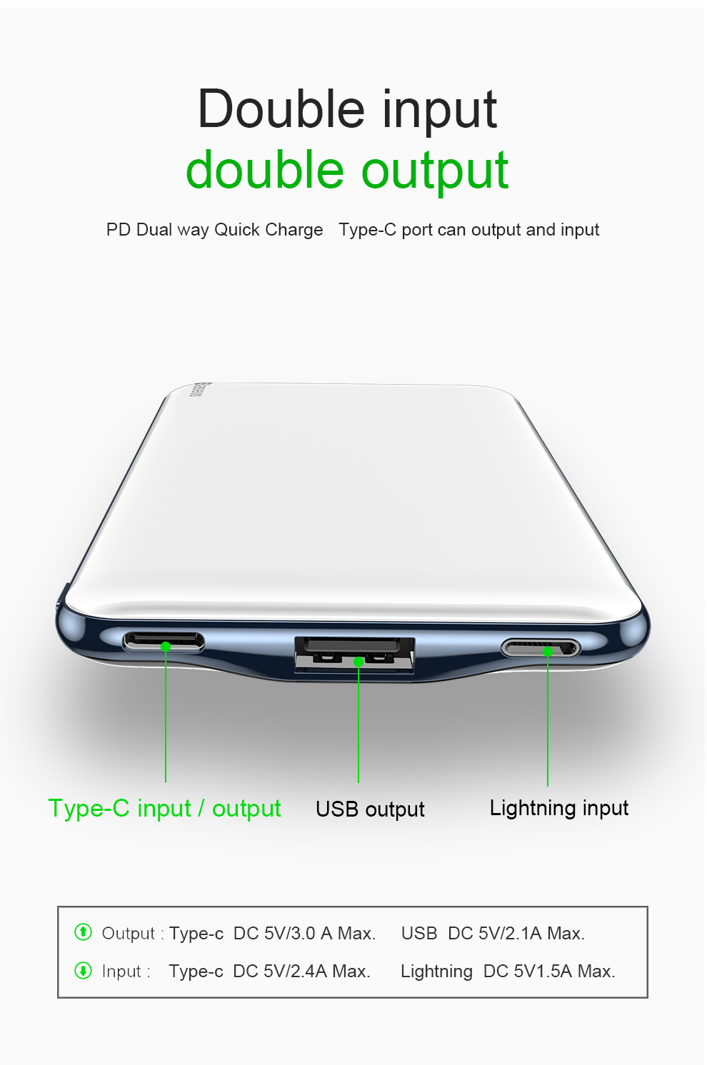 Baseus USB PD Fast Charging Power Bank For iPhone Xs Xs Max XR 18 X 8 8 Plus Powerbank 3A Quick Charge USB Type C Power Bank 6
