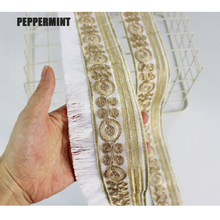 1yard Vintage Trim Golden Embroidered Webbing 5/7cm Indian Lace Sewing Net Yarn Ribbons Clothing Decorative